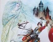 Vintage Italian Childrens Book - La Principessa Incantata - The Enchanted Princess - Collage Illustration - Italian Art Book - Wall Decor