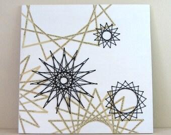 Star Constellation - Thread & Book Paper Collage Art - Black and White Art - Geometric Art - Original Drawing Modern Home Decor - String Art