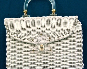 vintage 1950s white wicker purse/handbag