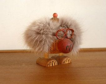 Vtg Swedish TROLLET Troll by YNGVE PERSSON Handmade Wood Big Feet Metal Eyeglass Furry Red Nose Fun Scandinavian Folk Art Y P Jarvso Sweden