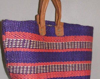 Vintage 70's Woven STRAW Purse Tote Bag // Orange PURPLE Striped LEATHER Straps Handmade