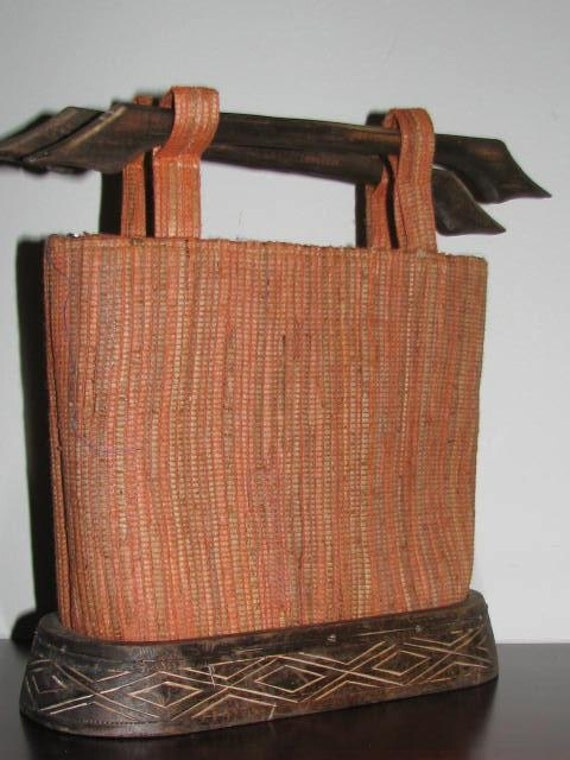 Tropical Holiday // Carved WOODEN Handmade Tote Purse Hippie Folk Straw ORANGE Tribal Beach Vacation Bag