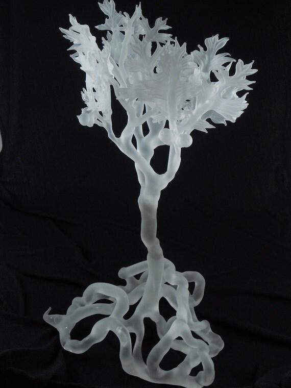 Frosted Glass Oak Leaf & Acorn Sculpture