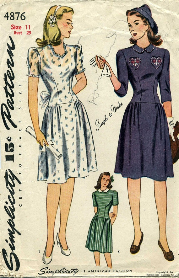 Simplicity 4876 Sweetheart Dress Sewing Pattern 40's
