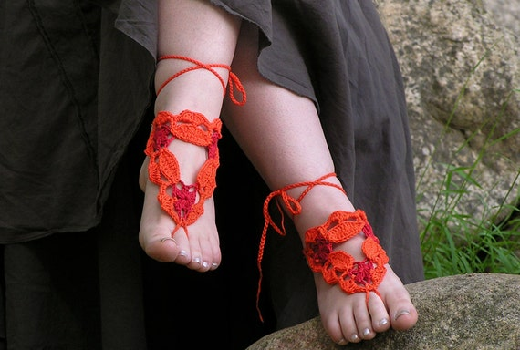 BAREFOOT SANDALS, Crochet, Orange, Red, Nude Summer Shoes, Bohemian Beach Foot Jewelry, Cotton Hippie Sandals, Lolita Anklets