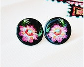 SALE Small round stud earrings with flowers Hand painted Ukrainian style Etsy Free shipping