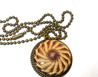 Celluloid Necklace Vintage Button with Chain