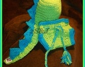 Crochet Baby Dinosaur Hat and Diaper Cover SET, Great Photo Props 4 Colors to choose from