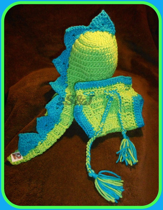 Crochet Baby Dinosaur Hat and Diaper Cover SET Great Photo