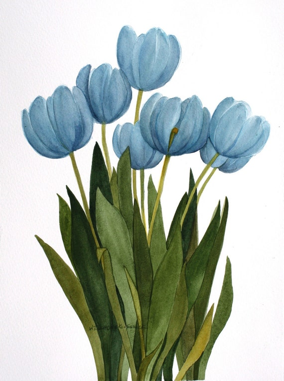 Baby Painting Craft >> Turquoise Blue Tulips Original Watercolor Painting