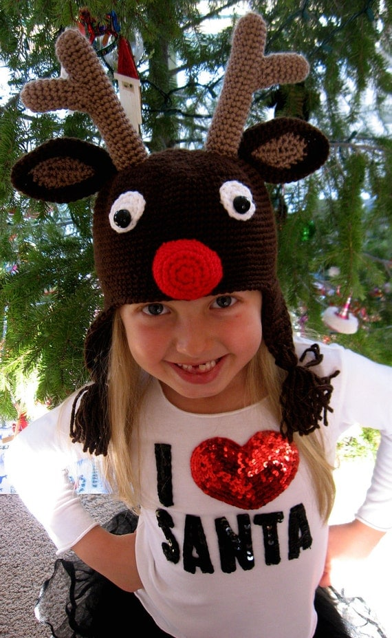 Crochet Hat Pattern - Rudolph Reindeer Crochet Hat Pattern - Instant Download
