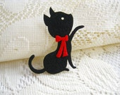 Iron on Applique Cutie Black Kitten with red bow, Cutie Cat, felt applique, iron on patch,  kid, woman, baby,cutie cat