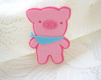 Felt Applique Iron on Applique Pink Blue Cute Pig, Patches, Scrapbook, kid shirt, baby toys ,bag decoration, Baby shower, Sew Patches,   B10