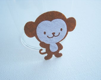 Felt applique Iron on Applique Smart Brown Monkey , kawaii snail ,kid, baby, toys, man, woman, bag decoration, shirt, skirt, Baby Shower,A18