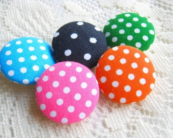 Fabric Buttons, Fabric covered button, Polka dot, pink green blue black Orange Set 5pcs,25mm, woman, summer, spring, cute ,quilt, handmade
