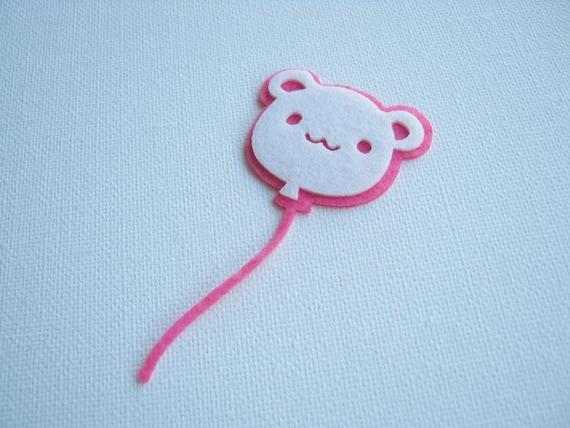 Felt applique Iron on Applique Cute White Pink Bear Balloon , kawaii snail ,kid, baby, toys, man, woman, bag decoration, shirt, skirt ,
