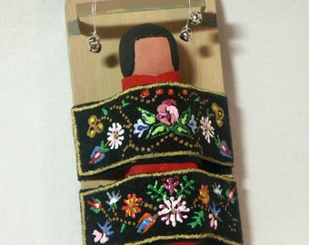 Ojibwa miniature papoose Native American Indian art doll cradle board replica gift OOAK