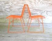PAIR / metal chairs / retro orange mesh / wire