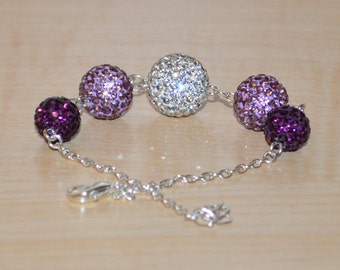 Purple, Lavender, and White Pave Crystal Disco Ball Bead Bracelet - 14mm, 12mm, 10mm - 5GCB