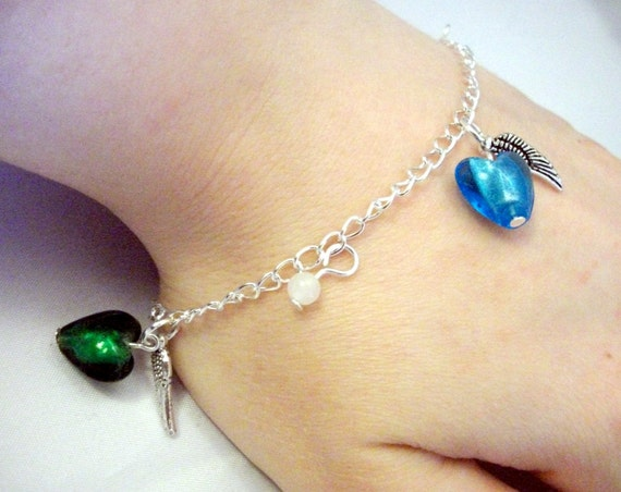 Memorial Heart Charm Silver Bracelet with Birth Month/Due Date colours