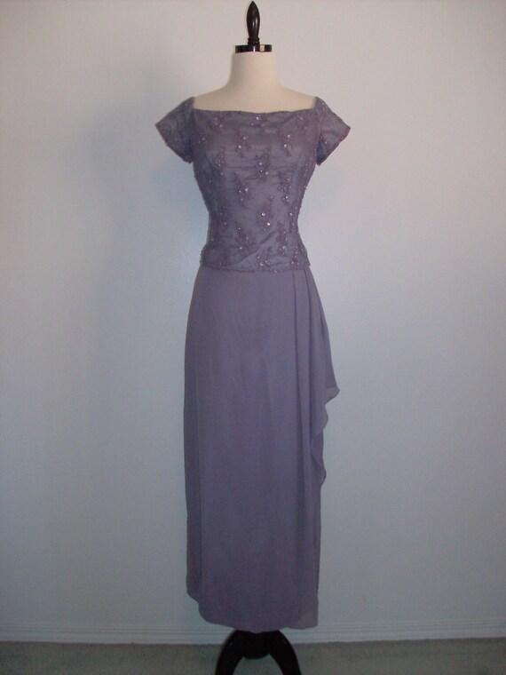 RESERVED Vintage 1980s Maxi formal Wedding Mother of bride cocktail dress dressy dress bridesmaid Lace designer Cachet Purple