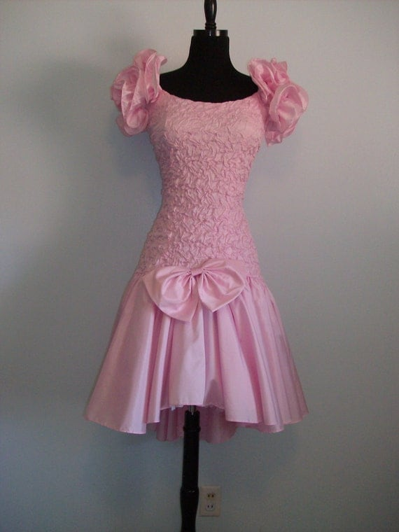 Vintage 1980s dressy dress Party Formal Bridesmaid gown Wedding Evening Dance  Adorable Pink Asymmetric hem line