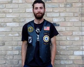 Biker Vest Black Leather with U.S. Army, Navy, Marine, and America Patches S