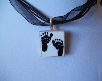 Choice of Baby Footprint or Handprint Game Piece Necklace