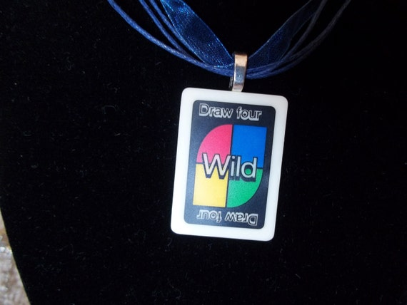 Uno Wild Card handcrafted Game Piece Necklace on voile necklace with gift bag
