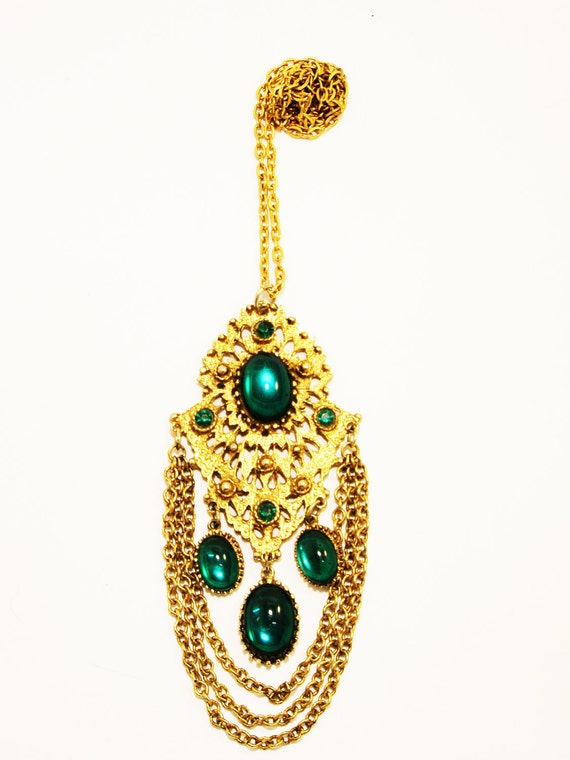 REDUCED Vintage Etruscan Revival Emerald Cabochon Chain Necklace
