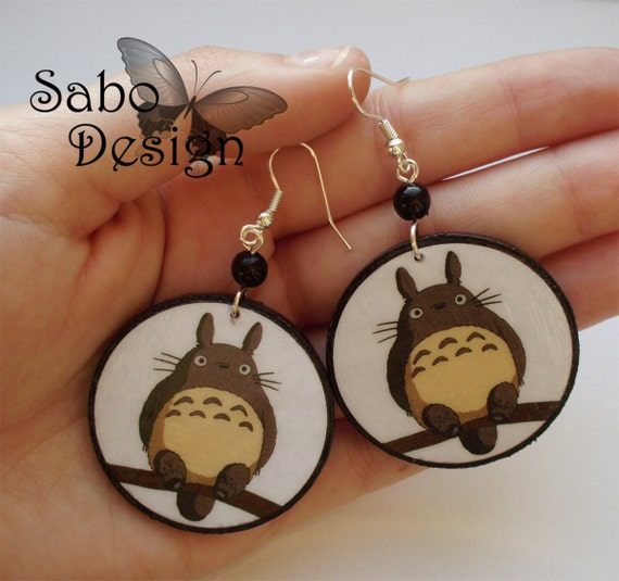 MY NEIGHBOR TOTORO decoupage earrings tonari no totoro studio ghibli manga anime japan perfect gift