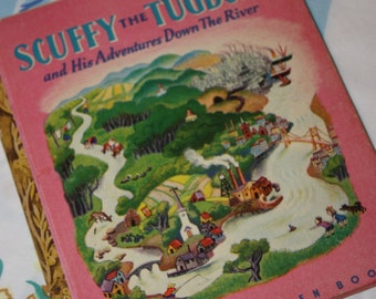 """Scuffy The Tugboat And His Adventures Down The RIver - 1946 LIttle Golden Book - """"H"""" edition"""