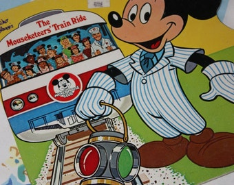 The Mousketeer's Train Ride 1977 Golden Shape Book