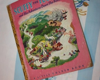 Scuffy The Tugboat and His Adventures Down The River 1946 Little Golden Book - G edition