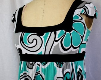Abstract Floral Print Mini Dress, Candies, vintage 1960s style in the 1990s, size medium (6, 8, 10, 12)