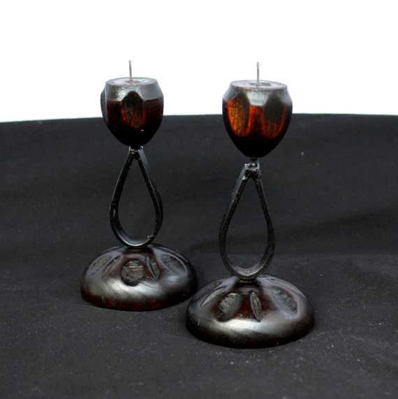 Pair of Tiki Style Candle Holders, wood and iron, vintage 1970s