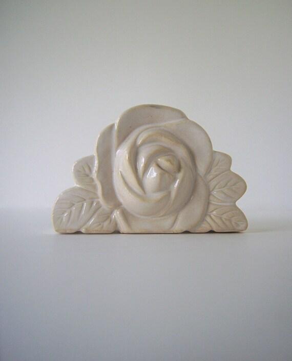 Sculptured Ceramic Rose Vase or Holder, Cream, Blue and Khaki Color