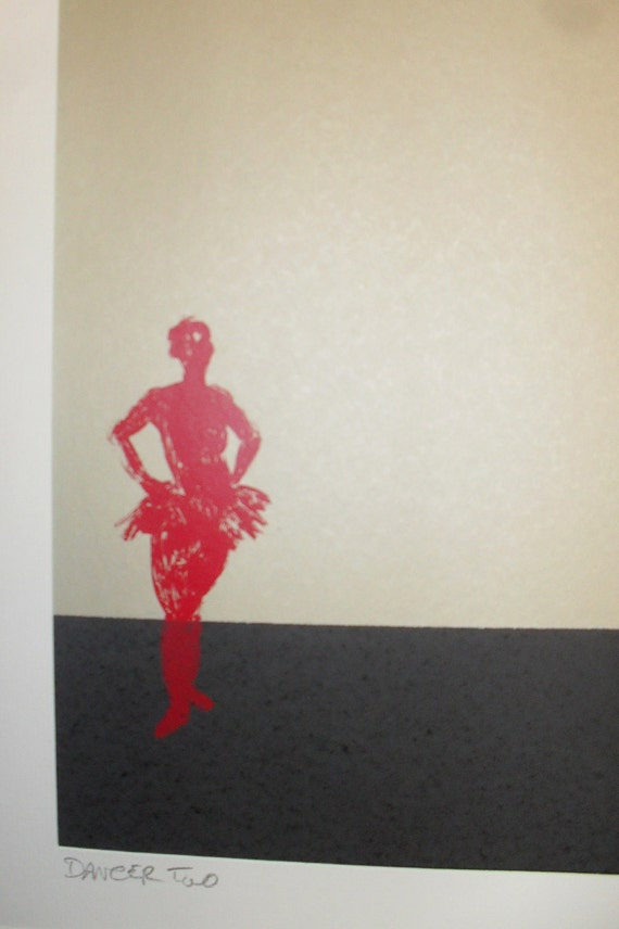 Ballet Dancer screenprint in Gold, Black and Red