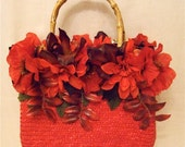 Romantic Lipstick Red Flower Purse Flower Bag