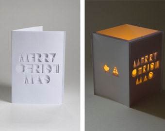 Christmas card paper lantern - paper cut typographic greeting card