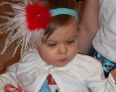 Dr Seuss Cat In The Hat Inspired Red and Aqua Headband....birthday....Dr Seuss ...cat in the hat