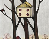 Yellow Birdhouse Illustration, Redbird Drawing, Tall Trees, Spring and Summer Art Print