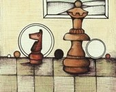 Knight Queen Chess Pieces Illustration, Watercolor Painting of Chessboard, Fun Board Game Drawing, Whimsical Chess Fine Art Print