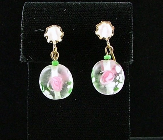 MIRIAM HASKELL Satin Glass Clip On Earrings