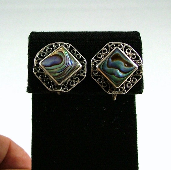 Mexican Silver and Abalone Screw Back Earrings 1940's