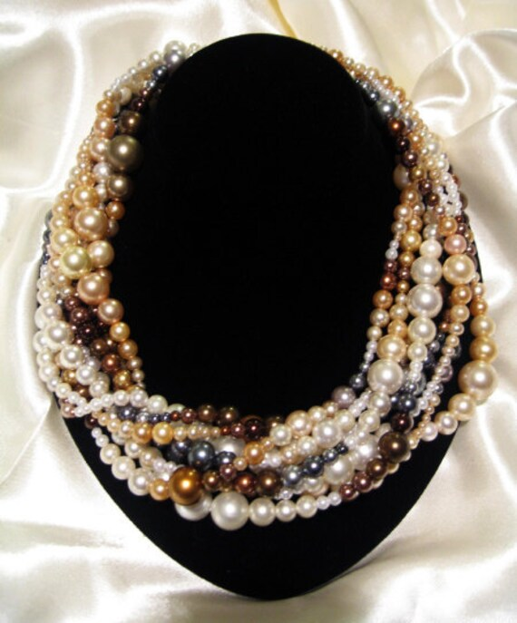 Multi strand pearl cluster necklace