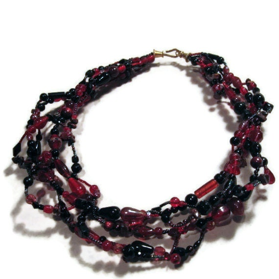 Red and black beaded glass necklace, multi strand