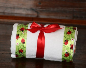 Burp Cloth / Changing Pad: My Pretty Burpy Ladybugs, Personalization Available