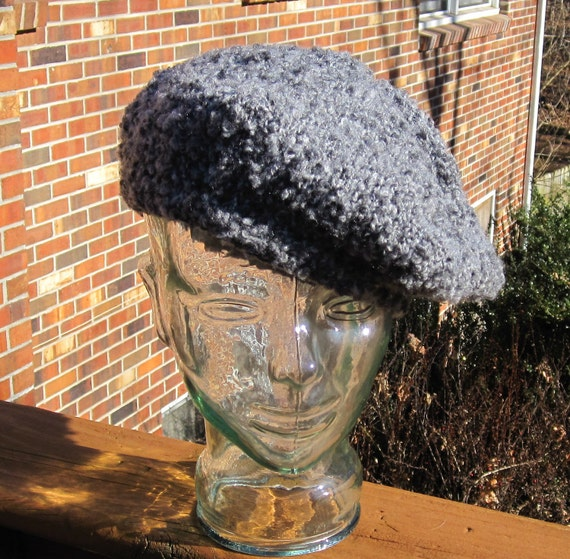 Grey Knit Hat Beret Cap Tam Cloche Slouch