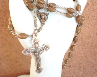 french antique metal beads Rosary/chapelet w/ Mary/Marie and the holy ghost made in Italy